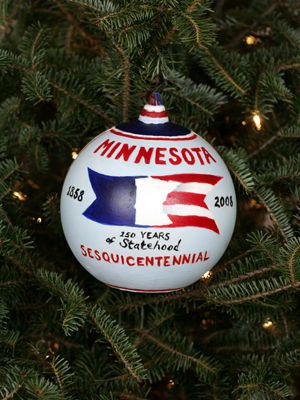 Minnesota Senator Norm Coleman selected artist Merry DeCourcy to decorate the State's ornament for the 2008 White House Christmas Tree.