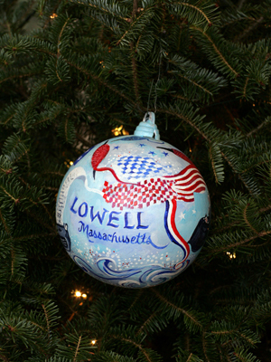 Massachusetts Congresswoman Niki Tsongas selected artist Janet Lambert-Moore to decorate the 5th District's ornament for the 2008 White House Christmas Tree