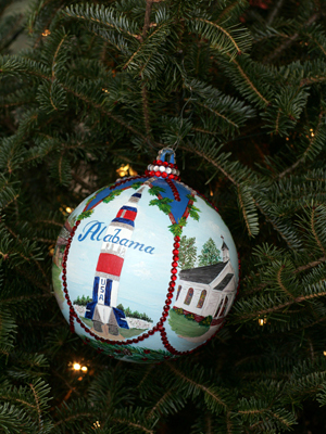 Alabama Congressman Robert Aderholt selected artist Mona Ivey to decorate the 4th District's ornament for the 2008 White House Christmas Tree.