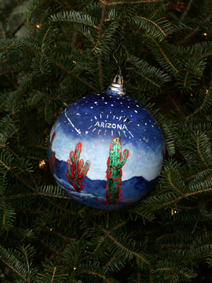 Arizona Congresswoman Gabrielle Giffords selected artist Jim Waid to decorate the 8th District's ornament for the 2008 White House Christmas Tree.