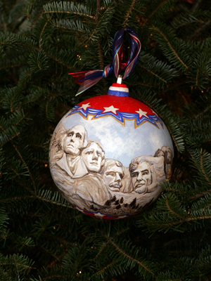 South Dakota Congresswoman Stephanie Herseth Sandlin selected artist Carol Weber Green to decorate the At Large District's ornament for the 2008 White House Christmas Tree.