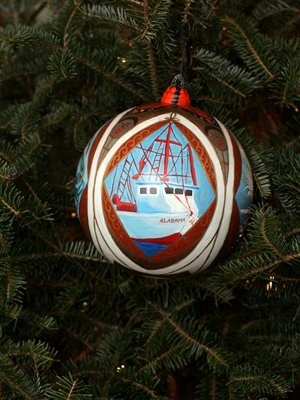 Alabama Senator Jeff Sessions selected artist Kelley Beville Ogburn to decorate the State's ornament for the 2008 White House Christmas Tree.