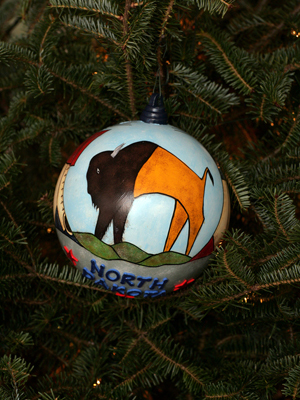 North Dakota Senator Byron Dorgan selected artist Butch Thunder Hawk to decorate the State's ornament for the 2008 White House Christmas Tree.