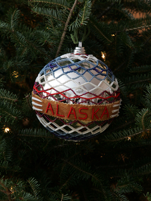 Alaska Congressman Don Young selected artist Shirley May Holmberg to decorate the At Large District's ornament for the 2008 White House Christmas Tree