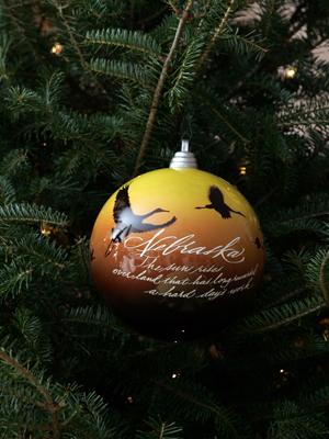 Nebraska Senator Chuck Hagel selected artist Marty Amsler and Bob Wemmer to decorate the State's ornament for the 2008 White House Christmas Tree.