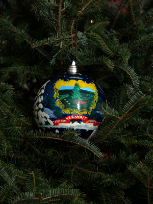Vermont Senator Bernie Sanders selected artist Lawrence Nowlan to decorate the State's ornament for the 2008 White House Christmas Tree.
