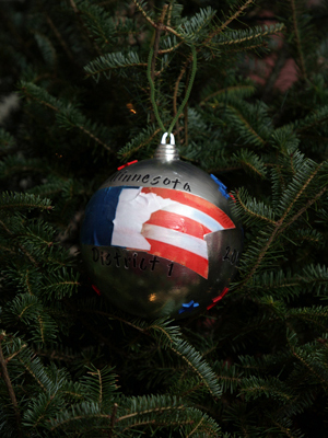 Minnesota Congressman Tim Walz selected artist Christine Robbins to decorate the 1st District's ornament for the 2008 White House Christmas Tree.
