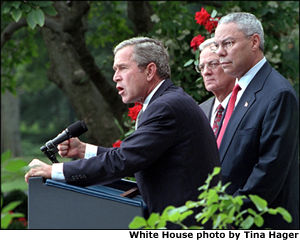 President Bush is joined by Secretary O'Neil and Secretary Powell in the Rose Garden.
