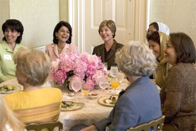 Laura Bush hosts a luncheon for the U.S.-Afghan Women's Council.