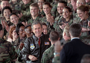 President George W. Bush is greeted with a thunderous cheer as he talks with troops during his visit to Eglin Air Force Base in Florida February 4. White House photo by Paul Morse.