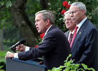 'Today, we have launched a strike on the financial foundation of the global terror network,' stated the President in the Rose Garden as he, Secretary of the Treasury Paul O'Neill and Secretary of State Colin Powell address the media Sept. 24. White House photo by Tina Hager.