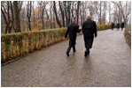 President Bush walks alone with Romanian President Iliescu on the grounds of Cotroceni Palace in Bucharest, Romania, Nov. 23, 2002. White House photo by Paul Morse