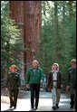 President Bush tours the Giant Forest Museum in Sequoia National Park Wednesday, May 30. White House photo by Paul Morse.