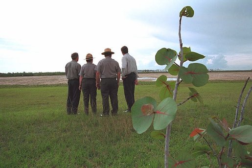 Guided by the National Park Service Officers, President George W. Bush, far left, and Governor Jeb Bush, far right, survey the landscape at Everglades National Park, Fla., June 4, 2001. White House photo by Eric Draper.