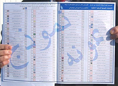 Sample of a ballot to be used in the Iraqi elections