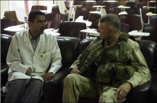 Maj. Gen. Blunt, Commanding General of the 3rd Infantry Division (3ID) from Fort Stewart Ga., talked with the doctors of Baghdad University Hospital about the conditions of the hospital, April 15, 2003. The 3ID is deployed in support of Operation Iraqi Freedom.