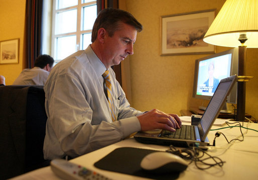 White House Counselor Ed Gillespie at work on the Mideast Trip Notes Thursday, Jan. 10, 2008, at the King David Hotel in Jerusalem. White House photo by Eric Draper