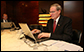 Stephen Hadley, National Security Adviser, works on the Mideast Trip Notes in the Senior Staff Lounge Saturday, Jan. 12, 2008, at the Ritz Carlton-Bahrain. White House photo by Eric Draper