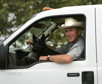 President Bush in his truck with Barney