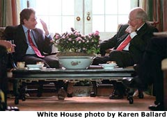 Photo of the Vice President with British Prime Minister Tony Blair. White House photo by Karen Ballard