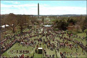 Last year the festivities were cancelled because of rain, making this year's festivities on the South Lawn, April 1, 2002, the first White House Easter Egg Roll of President George W. Bush's Administration.