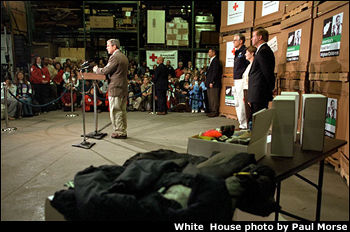 President George W. Bush at a send-off event for shipping the first round of supplies paid for by America's Fund for Afghan Children.