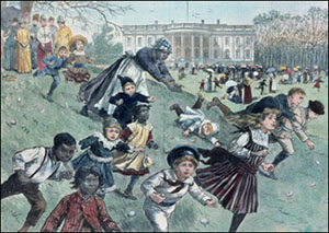 Racing and tumbling down a hillock, children romp on the south lawn of the White House during the 1887 Easter Monday egg rolling.