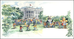 Pictured is an illustration of a modern-day White House Egg Roll by Barbara Gibson for the White House Historical Association.