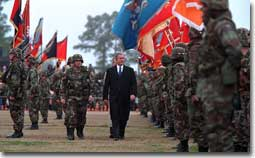 President George W. Bush inspects the troops at Ft. Stewart in Savannah, Georgia on Tuesday February 12, 2001. (WHITE HOUSE PHOTO BY PAUL MORSE)