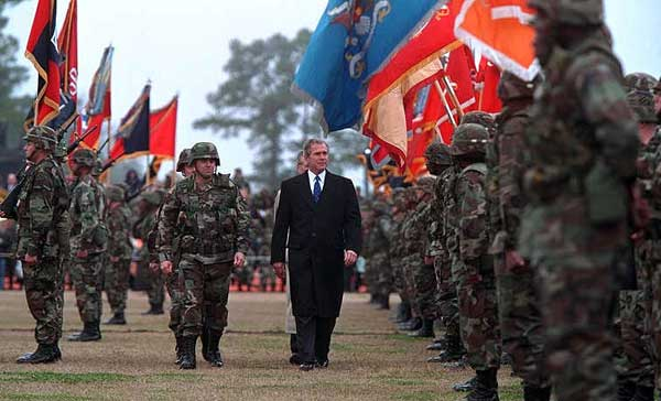 President George W. Bush inspects the troops at Ft. Stewart in Savannah, Georgia on Tuesday February 12, 2001