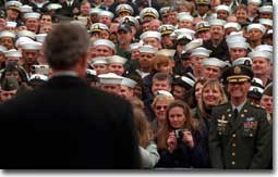 President George W. Bush speaks to sailors and other members of the military at NATO ACLANT headquarters at the Norfolk Naval Air Station on February 13, 2001 in Norfolk, Virginia. President Bush visited several military bases last week to reaffirm his commitment to improve living conditions for the people who serve in America's armed forces. (WHITE HOUSE PHOTO BY PAUL MORSE)