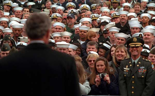 President George W. Bush speaks to sailors and other members of the military at NATO ACLANT headquarters at the Norfolk Naval Air Station on February 13, 2001