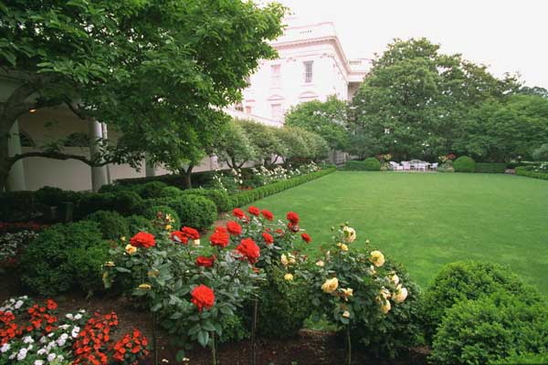 Pictured is the Rose Garden viewed from the West Wing. To the left is the West Colonnade. White House photo by Tara Engberg.