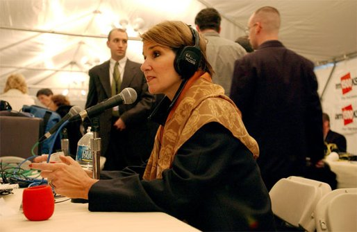 Advisor to the Vice President Mary Matalin takes part in one of many interviews during the White House Radio Day Wednesday, Oct 30. White House photo by Tina Hager.