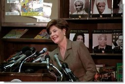 Laura Bush attends the D.C. Teaching Fellows launch at the Patricia Roberts Harris Educational Center in Washington, D.C., Feb., 22, 2001.