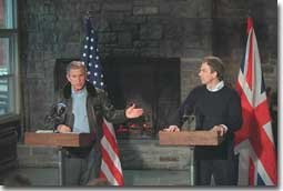 President George W. Bush and Prime Minister Blair in Joint Press Conference.