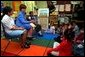 Laura Bush takes questions from students after reading wit them at Caesar Chavez Elementary School in Hyattsville, Maryland, Feb., 26, 2001. White House photo by Carol T. Powers.