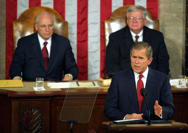 President George W. Bush speaks to a Joint Session of Congress