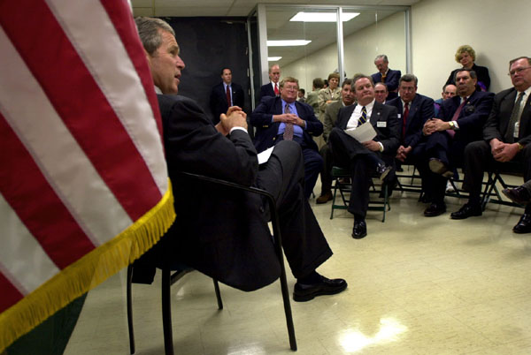President George W. Bush speaks to area farmers during a meeting at North Dakota State University, Thursday, Mar 8