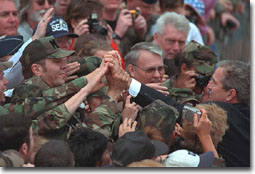 President Bush shakes hands with troops at Tyndall Air Force Base in Florida.