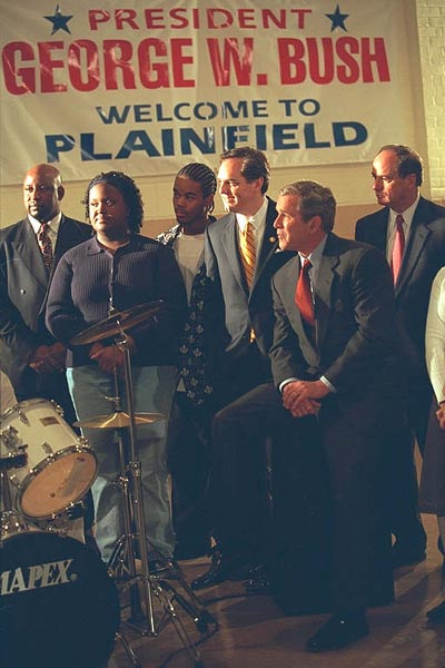 President Bush visits a faith-based program in Plainfield, New Jersey.