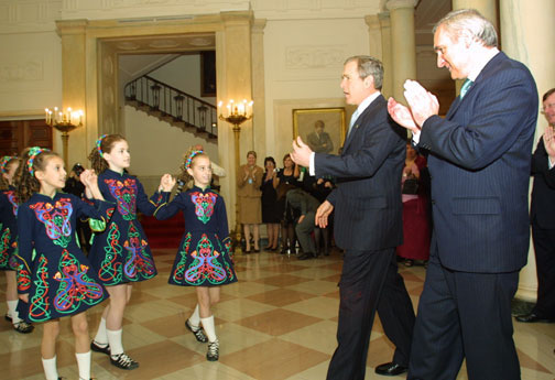 Children present a traditional Irish dance in the East Room for the President and the Prime Minister of Ireland.
