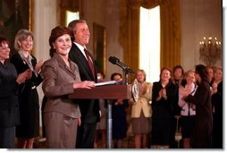 Laura Bush introduces President George W. Bush for his speech on Women Business Leaders in the East Room March 20, 2001.  White House photo by Paul Morse
