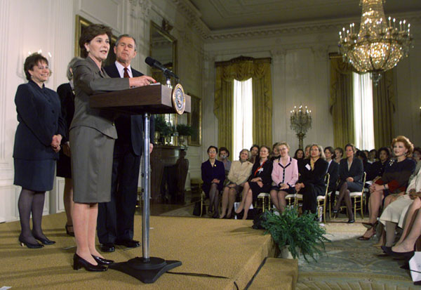 Laura Bush speaks to women business leaders in the East Room.