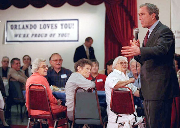 President Bush meets with citizens in Orlando, Florida.