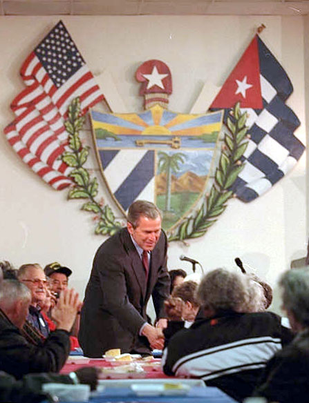 President Bush shakes hands with citizens in Orlando, Florida.