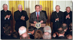 President Bush welcomes Catholic leaders to White House.