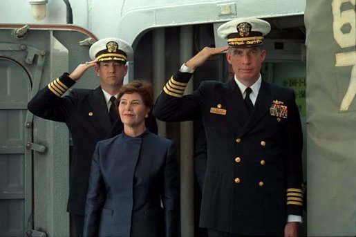 Laura Bush is welcomed aboard the USS Shiloh anchored in San Diego, Calif., for a Troops to Teachers event March 23, 2001. White House photo by Paul Morse.