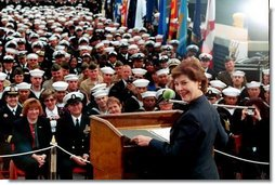 Laura Bush speaks about the Troops to Teachers initiative aboard the USS Shiloh in San Diego, Calif., March 23, 2001.  White House photo by Paul Morse