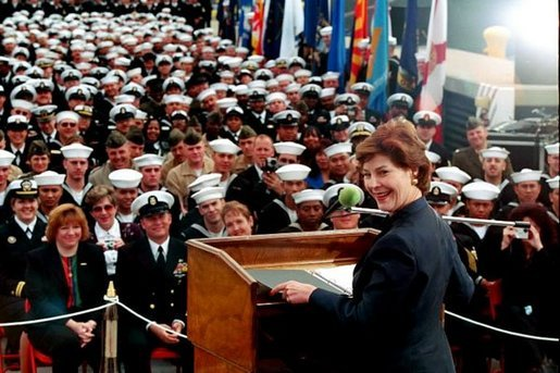 Laura Bush speaks about the Troops to Teachers initiative aboard the USS Shiloh in San Diego, Calif., March 23, 2001. White House photo by Paul Morse.